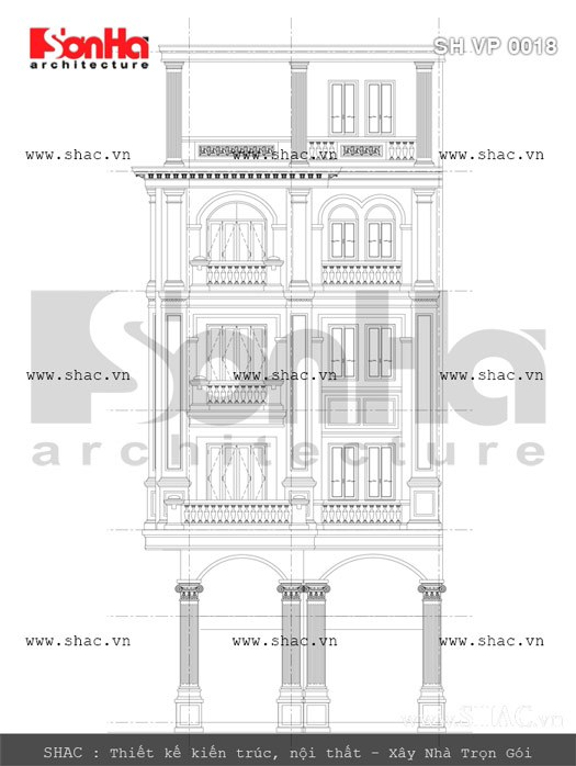 Bản vẽ mặt bên của tòa nhà sh vp 0018
