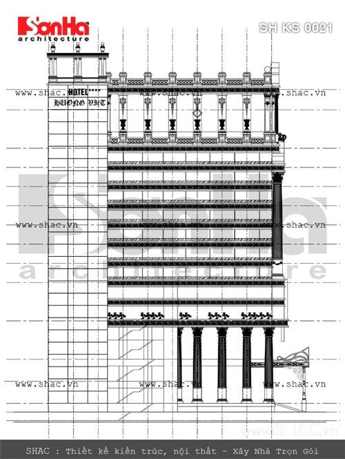 Bản vẽ mặt bằng đứng của khách sạn sh ks 0021