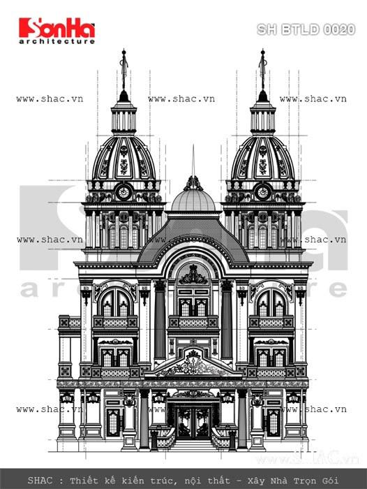 Bản vẽ mặt đứng biệt thự lâu đài 3 tầng phong cách châu âu cổ điển có mặt tiền 12m