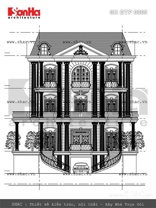 Bản vẽ mặt tiền của biệt thự sh btp 0065