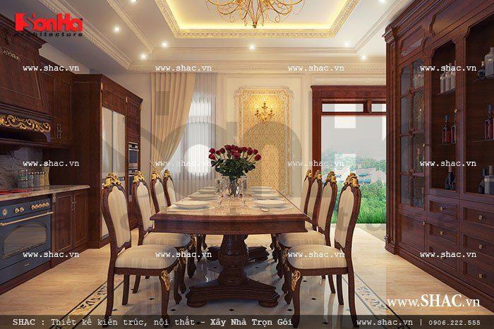 KTS Sơn Hà đã vận dụng lối thiết kế mở để lên phương án thiết kế nội thất phòng bếp biệt thự cổ điển sang trọng và tiện nghi tại Hà Nội
