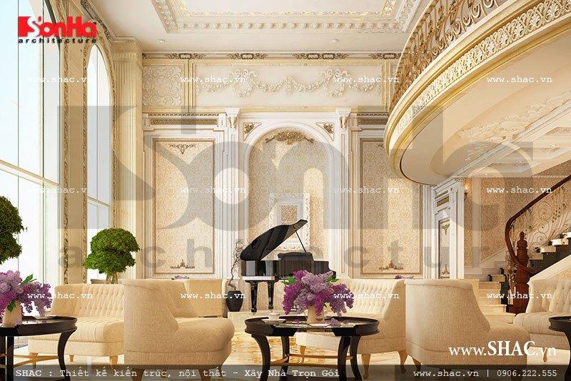 Cách bố trí nội thất đẹp mắt tạo nên không gian sảnh khách sạn kiểu Pháp sang trọng