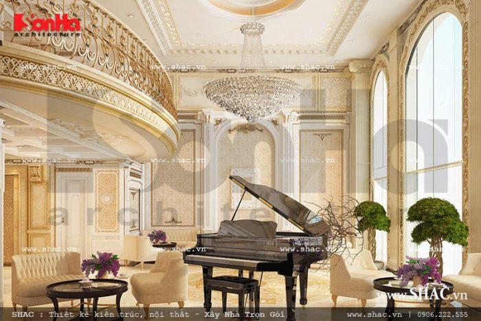 Mọi góc view của không giản quầy lễ tân và khu vực khách chờ đều được thống nhất lên phương án thiết kế theo phong cách Pháp