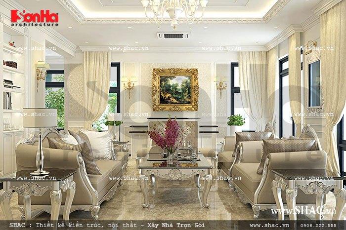 Thiết kế nội thất phòng khách sang trọng và tinh tế với gam màu thời thượng trong không gian trang trí đẹp mắt