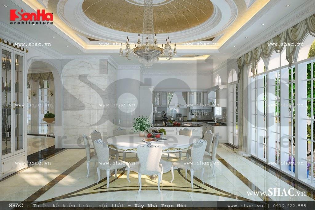 Thiết kế nội thất phòng bếp ăn kiểu cổ điển sang trọng trong không gian nội thất biệt thự Pháp