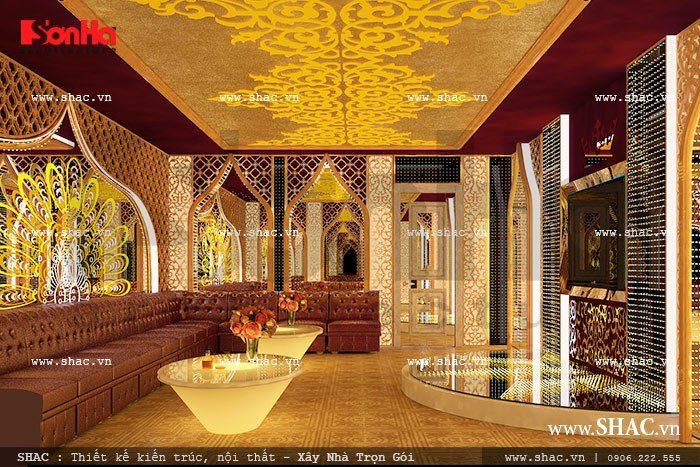 Mẫu thiết kế nội thất phòng karaoke đẹp đậm chất Pháp của khách sạn tiêu chuẩn 2 sao 5 tầng