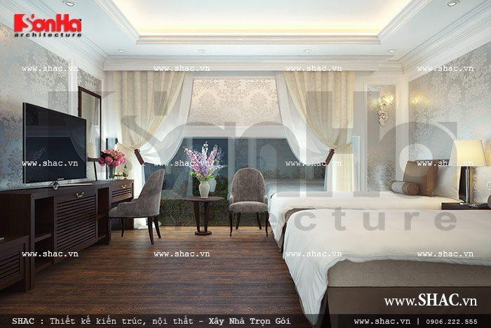 Mẫu phòng ngủ khách sạn tiêu chuẩn 3 sao theo phong cách cổ điển pháp trang trọng