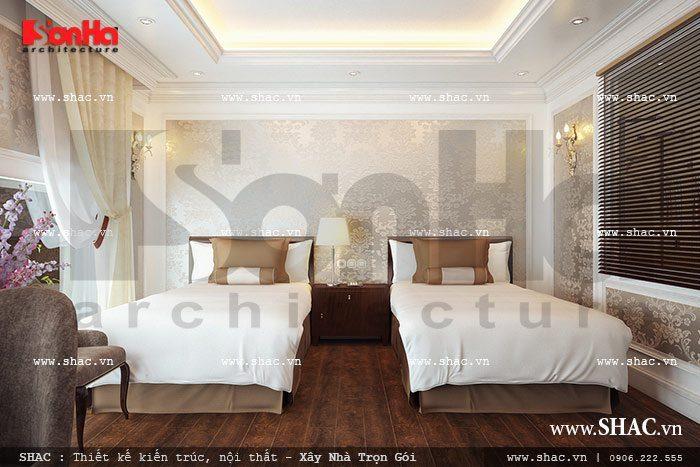 Cách trang trí và sắp xếp nội thất phòng ngủ khách sạn đều được KTS SHAC tuân thủ nghiêm ngặt các tiêu chuẩn thiết kế khách sạn ban hành
