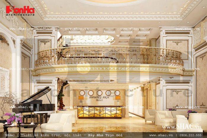 Mẫu thiết kế nội thất quầy lễ tân khách sạn mini 5 tầng tại Lào Cai mang đậm phong cách cổ điển sang trọng ấn tượng trong từng tiểu tiết