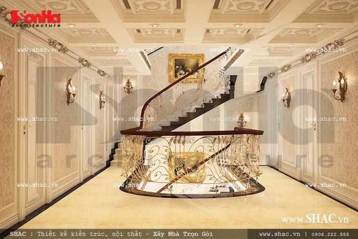 Mẫu thiết kế sảnh thang sang trọng với kiến trúc cổ điển được lựa chọn những đường nét thiết kế tinh xảo và độc đáo nhất
