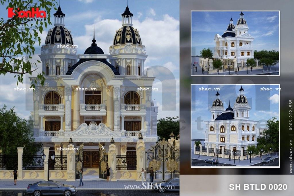 Thiết kế phối cảnh kiến trúc biệt thự lâu đài mang phong cách Châu Âu lộng lẫy có diện tích 192m2 tại Nam Định