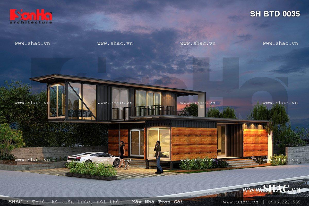 Biệt thự hiện đại kiến trúc độc đáo sh btd 0035