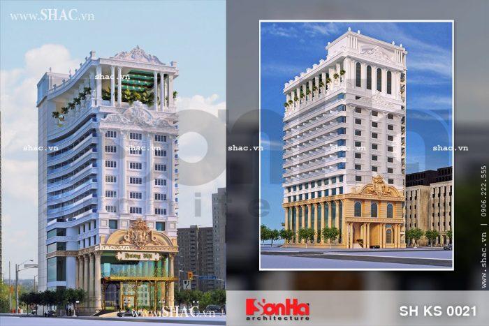 Mẫu thiết kế khách sạn 4 sao 2 mặt tiền sang trọng tại Bình Định điển hình xu hướng năm 2017