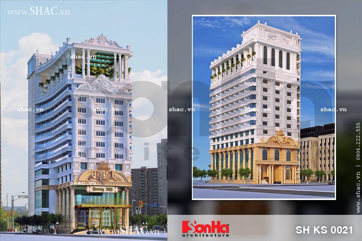 Tổng hợp các góc view kiến trúc ngoại thất của mẫu khách sạn đẹp phong cách Pháp