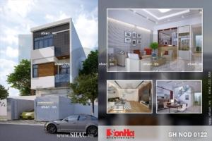 Nhà phố ba tầng mặt tiền đơn giản sh nod 0122