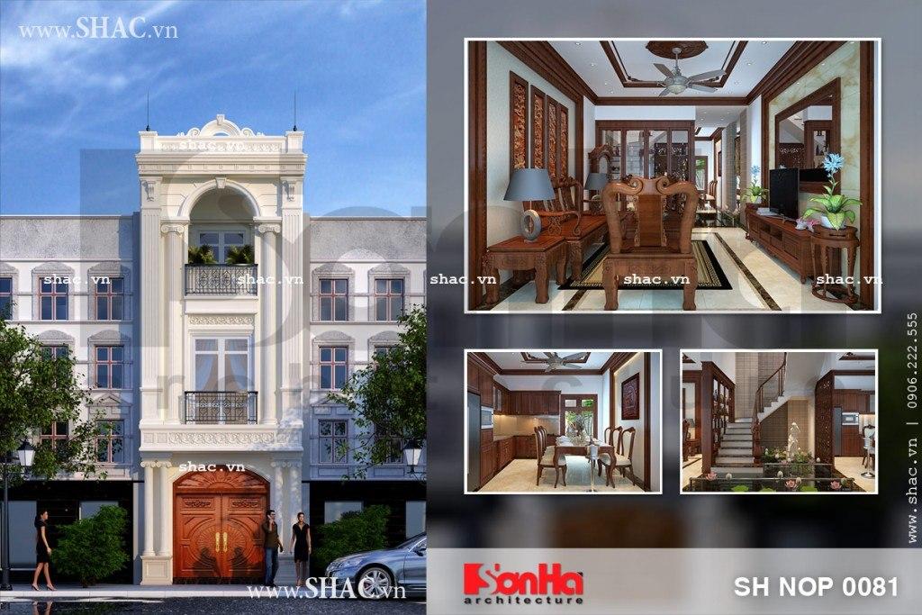 Thiết kế nhà phố kiểu pháp 3 tầng sh nop 0081