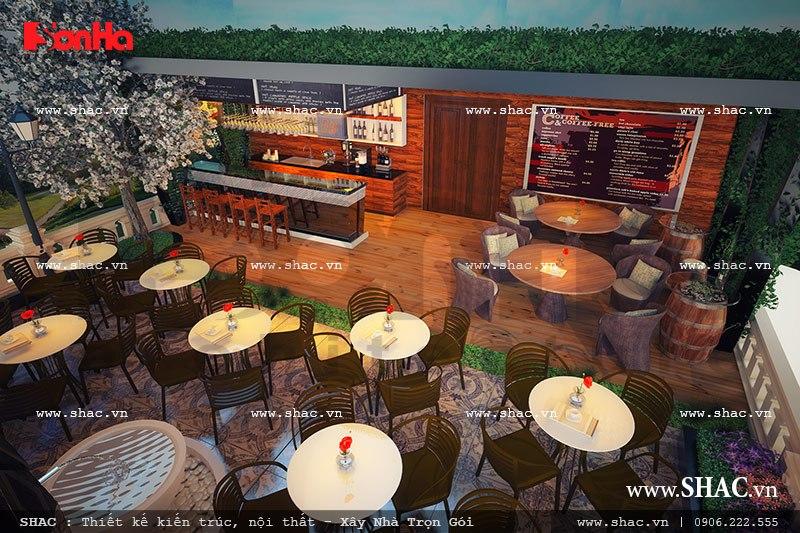 Thiết kế quán cafe trên sân thượng sh ks 0022