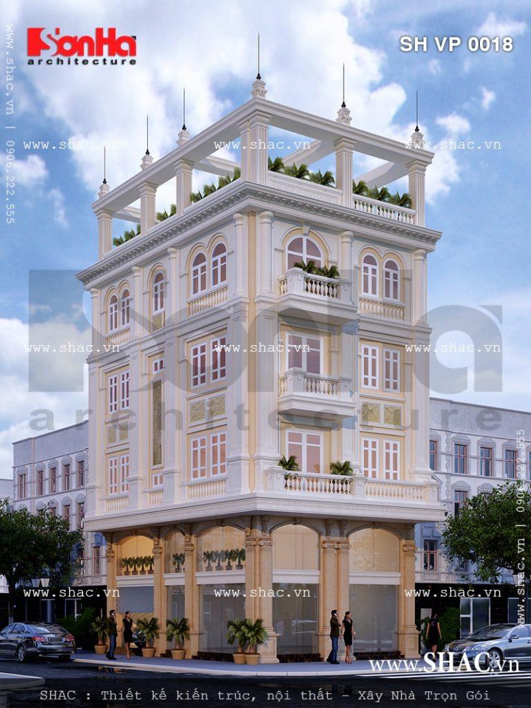 Thiết kế thòa nhà văn phòng 5 tầng kiểu pháp sh vp 0018