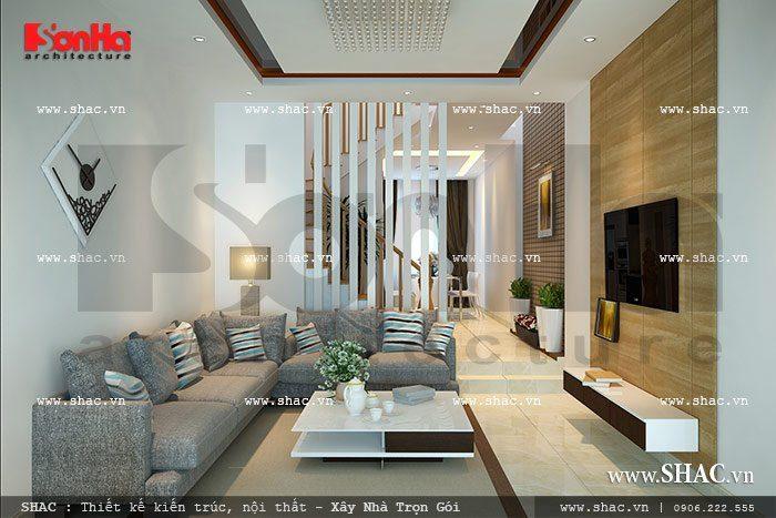Thiết kế nội thất phòng khách nhỏ xinh gam màu nhẹ nhàng nhưng vẫn thể hiện được rõ nét hiện đại