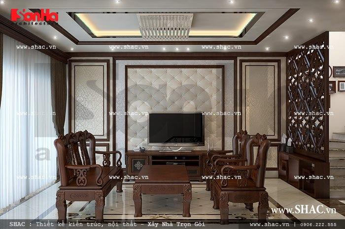 Bàn ghế gỗ phòng khách tạo nên không gian cổ điển sh nop 0085