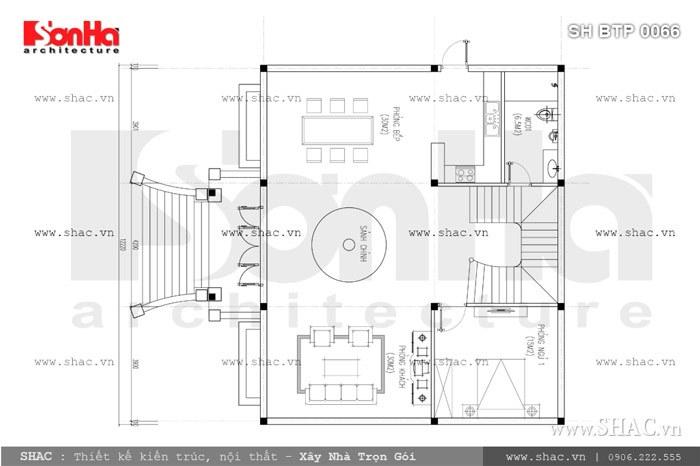 Bản vẽ mặt bằng tầng 1 của biệt thự sh btp 0066
