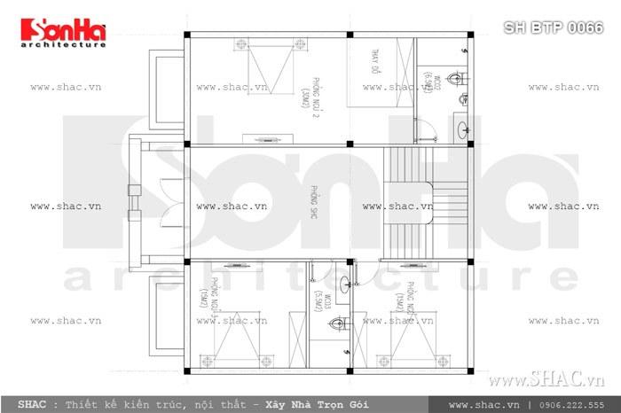 Bản vẽ mặt bằng tầng 2 của biệt thự sh btp 0066