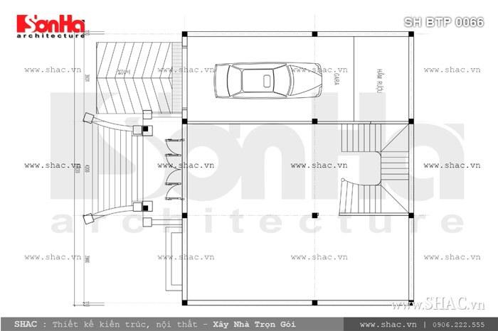 Bản vẽ mặt bằng tầng hầm của biệt thự sh btp 0066