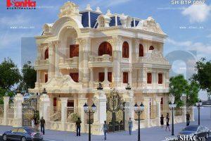 Biệt thự hai mặt tiền kiến trúc pháp đẹp sh btp 0067