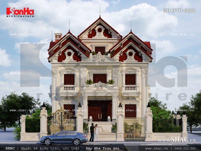Kiến trúc mặt tiền đẹp của ngôi biệt thự cổ điển Pháp thương hiệu SHAC uy tín và giàu bản sắc