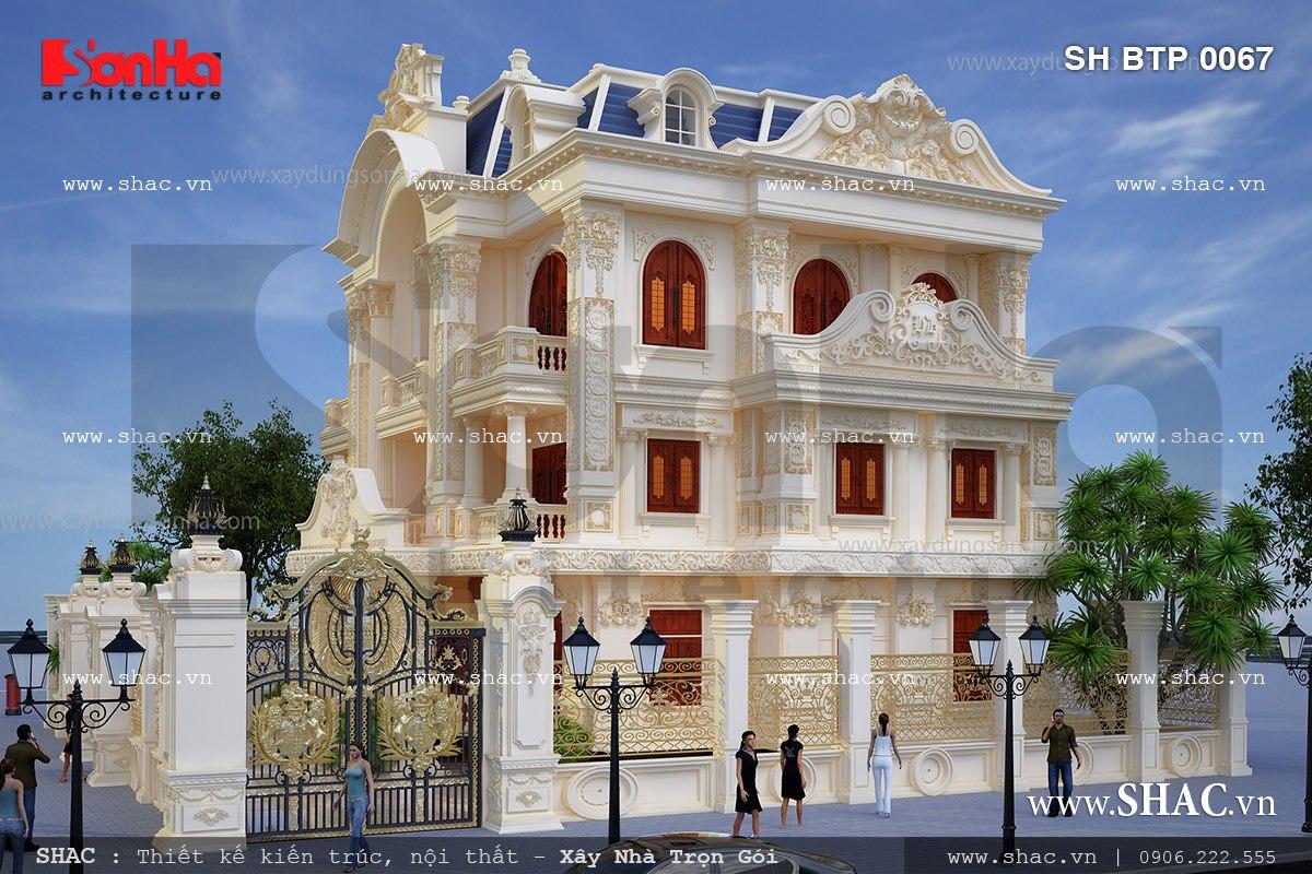 Mẫu biệt thự 3 tầng kiểu pháp cổ điển sh btp 0067