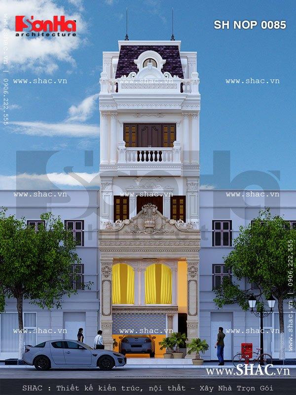Mẫu thiết kế nhà lô phố kiểu Pháp đẹp thu hút với các đường nét có chiều sâu, tinh tế