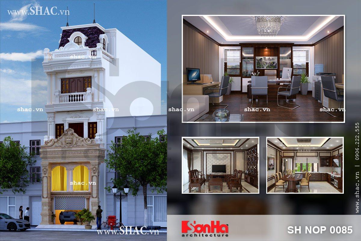 Mẫu thiết kế nhà phố kiểu pháp đẹp sh nop 0085