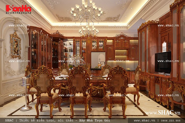 Thiết kế nội thất bếp ăn xa hoa và ấm cúng được trạm trổ tinh xảo với nội thất gỗ cao cấp