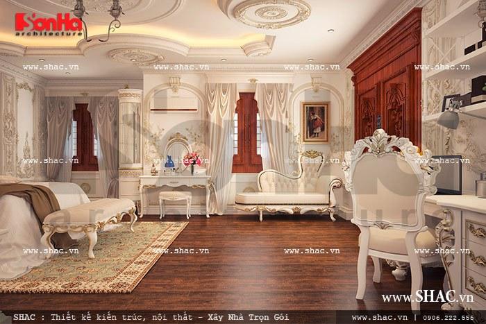 Thiết kế phòng ngủ sang trọng sử dụng đồ nội thất cổ điển xa hoa gam màu trắng thanh thoát xứng tầm với sự đẳng cấp của tổng thể ngôi biệt thự kiểu Pháp