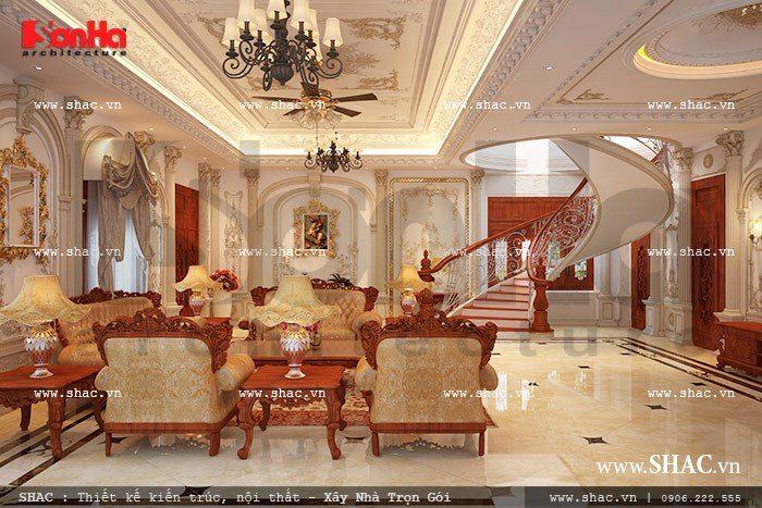 Mẫu phòng khách biệt thự kiểu Pháp có thiết kế nội thất cổ điển được đắp vẽ hoa văn phào chỉ tinh xảo mềm mại