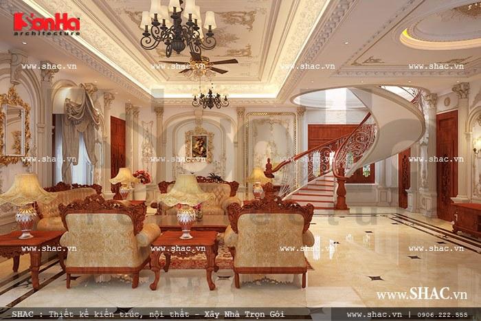 Phòng khách tầng 1 sang trọng và đẳng cấp sh btp 0067