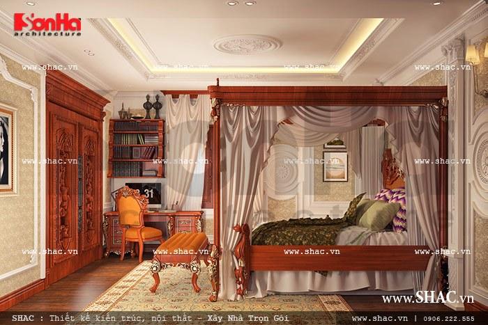 Mẫu phòng ngủ với thiết kế nội thất gỗ đẳng cấp góp phần làm nên diện mạo sang trọng cho không gian sống của ngôi biệt thự