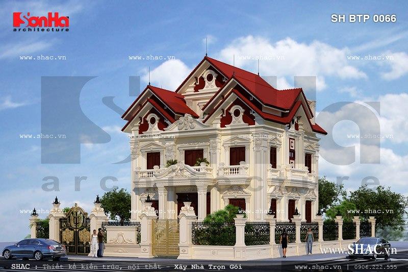 Thiết kế biệt thự kiểu pháp đẹp và sang trọng sh btp 0066