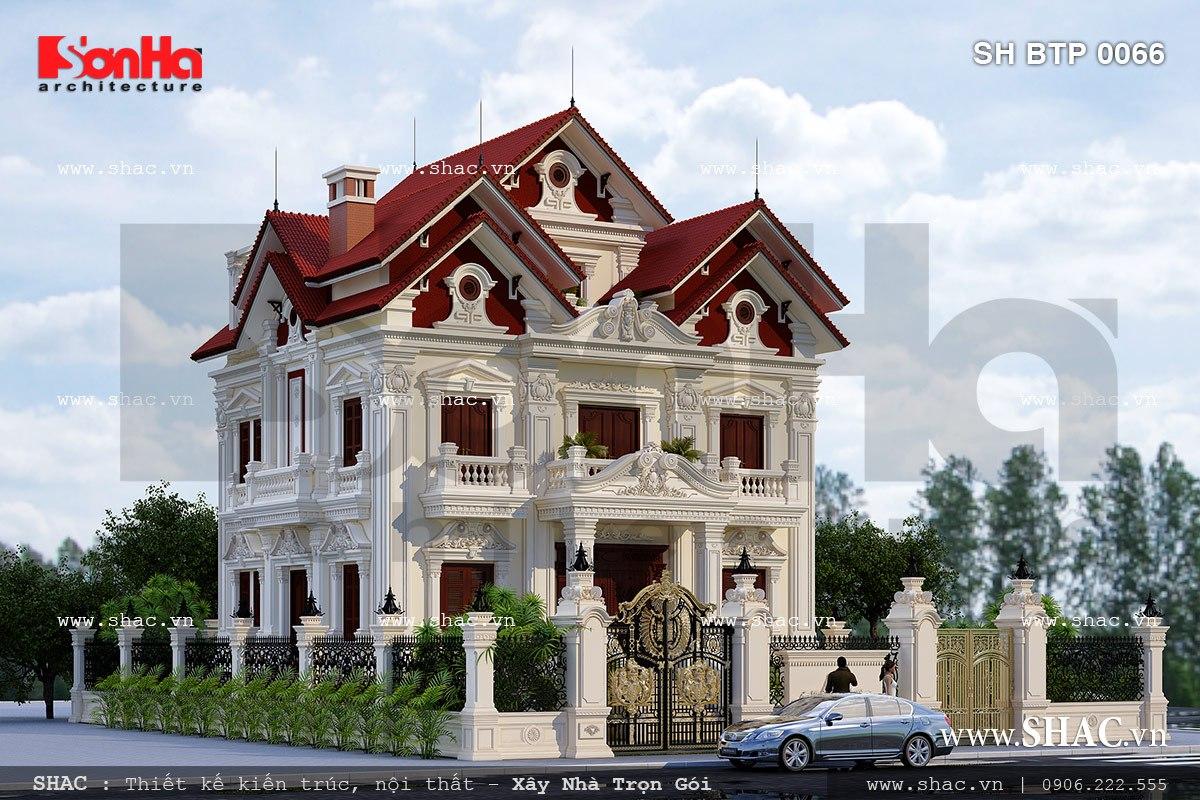 Thiết kế biệt thự pháp 3 tầng diện tích 320m2 sh btp 0066
