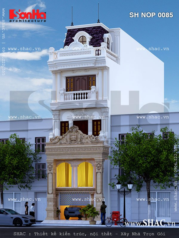 Mẫu thiết kế nhà phố kiểu Pháp đẹp SHAC với kết hợp chi tiết mềm mại, gam màu tinh tế