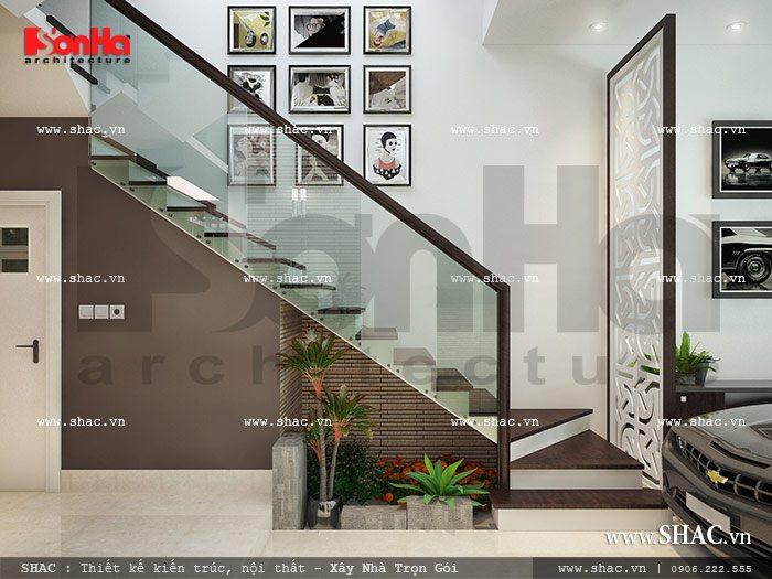 Vách ngăn xinh xắn trang trí thêm cho mẫu cầu thang nhà ống đẹp mắt dù giản dị