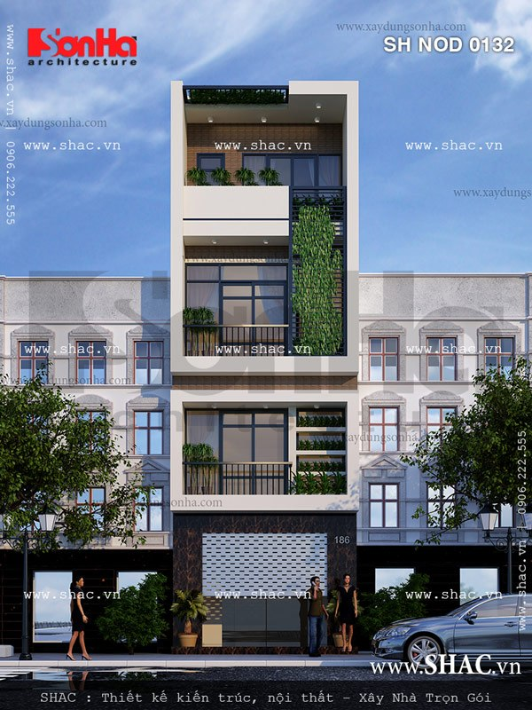 Kiến trúc mặt tiền nhà phố sang trọng với cách bố trí 4 tầng sang trọng từng tiểu tiết