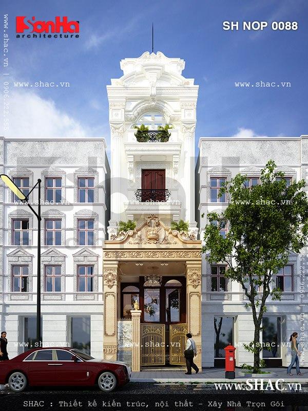 Ý tưởng thiết kế nhà lô phố 4 tầng kiến trúc cổ điển khả thi với gam màu sang trọng