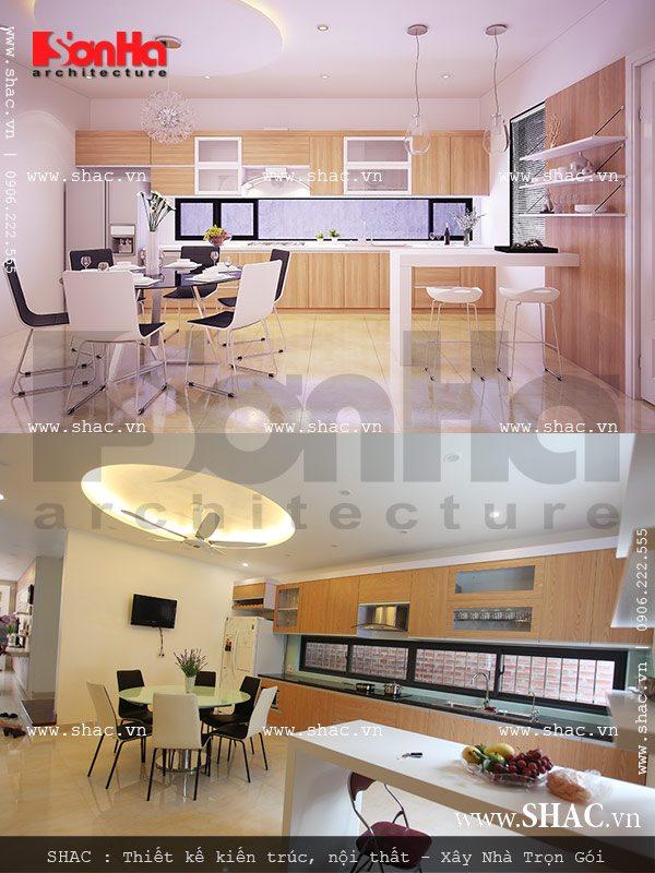 Nội thất bếp ăn làm bằng gỗ với màu sắc bắt mắt làm nên không gian bếp ấm cúng