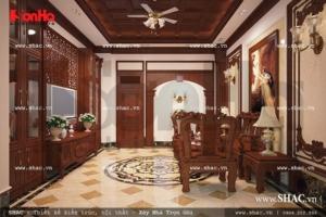 Phòng khách được ốp gỗ đẹp sh nop 0089