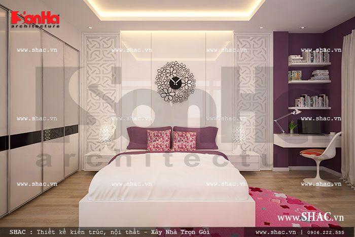 Phòng ngủ cho con gái đậm sắc hồng sh nod 0131