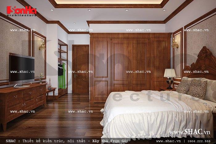 Phòng ngủ có thiết kế nhẹ nhàng và ấm cúng sh nop 0088
