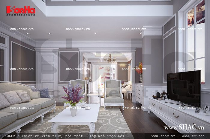 Thiết kế phòng khách kiến trúc pháp đẹp sh vp 0019
