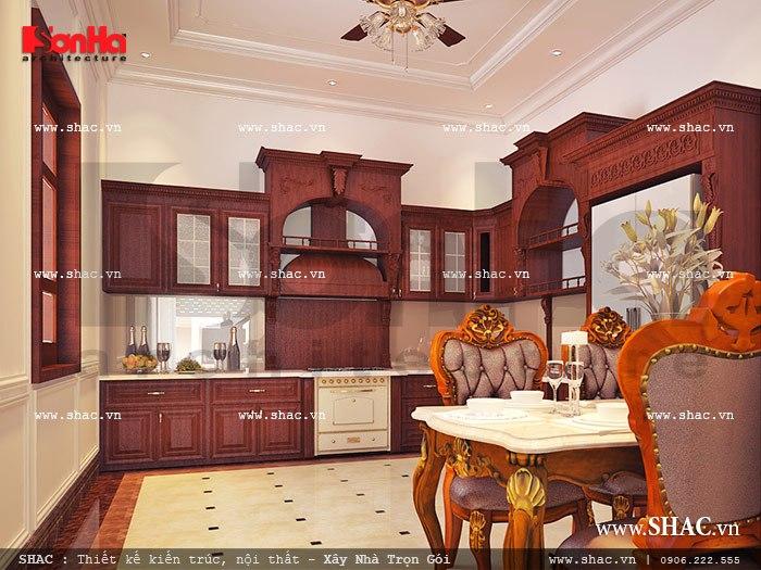 Mẫu thiết kế tủ gỗ đẹp trong không gian phòng bếp ăn biệt thự nội thất cổ điển hoàng gia sang trọng và ấm cúng