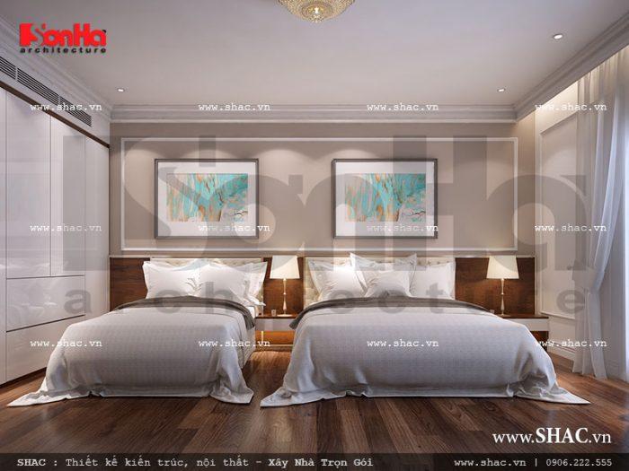 Thiết kế nội thất phòng ngủ khách sạn 2 giường đơn ấn tượng và đầy đủ tiện nghi